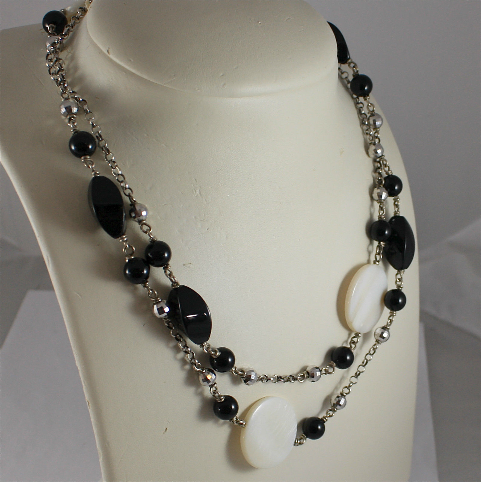 .925 RHODIUM SILVER NECKLACE, BLACK ONYX, MOTHER OF PEARL, FACETED SILVER BALLS.