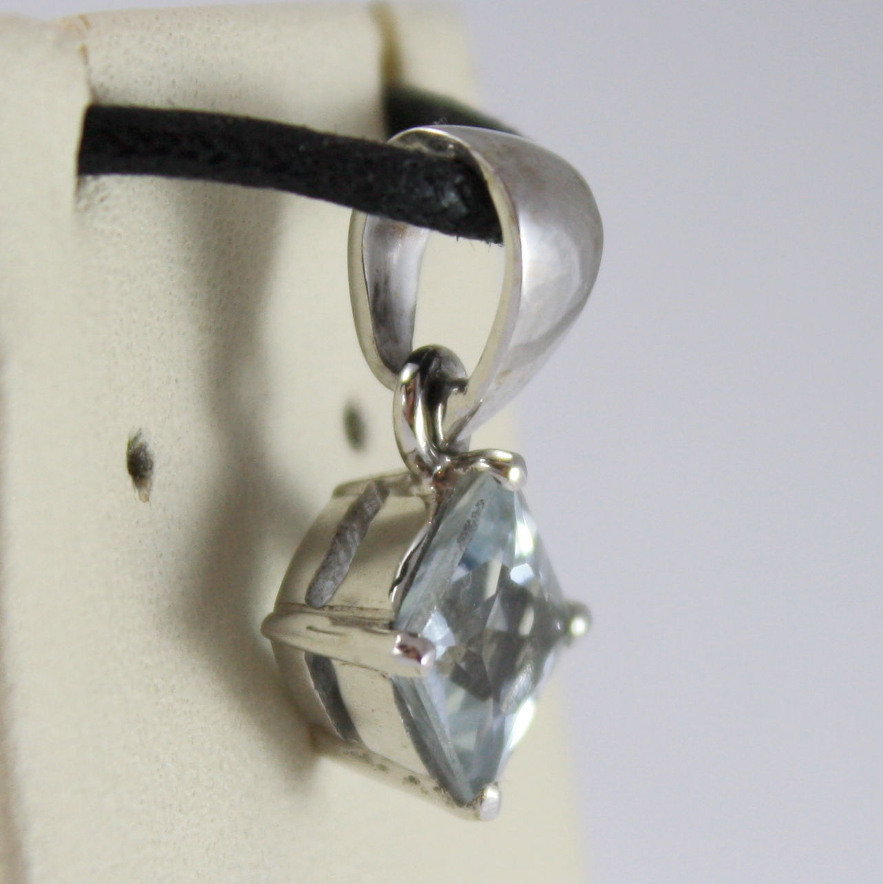 SOLID 18K WHITE GOLD PENDANT, AQUAMARINE CT 1.0 PRINCESS CUT, MADE IN ITALY
