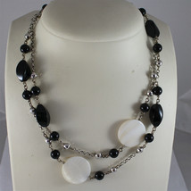 .925 RHODIUM SILVER NECKLACE, BLACK ONYX, MOTHER OF PEARL, FACETED SILVER BALLS image 3