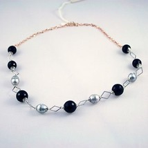 .925 SOLID STERLING SILVER NECKLACE WITH ONYX AND PEARLS image 2