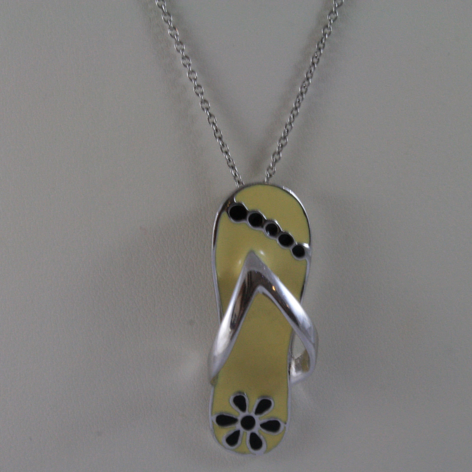 .925 SILVER RHODIUM NECKLACE WITH SHOE GLAZED PENDANT.