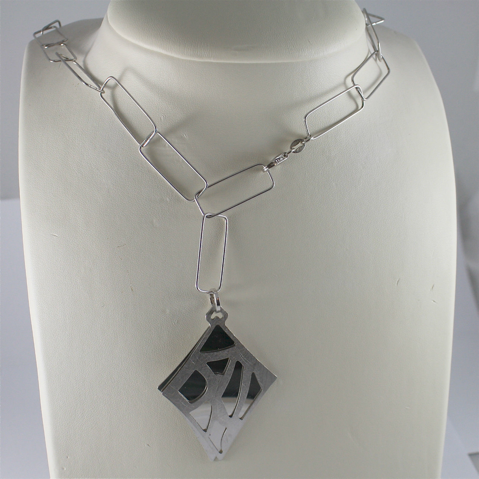 .925 RHODIUM SILVER NECKLACE, SQUARE CHAIN MESH, RHOMBUS DOUBLE PENDANT.