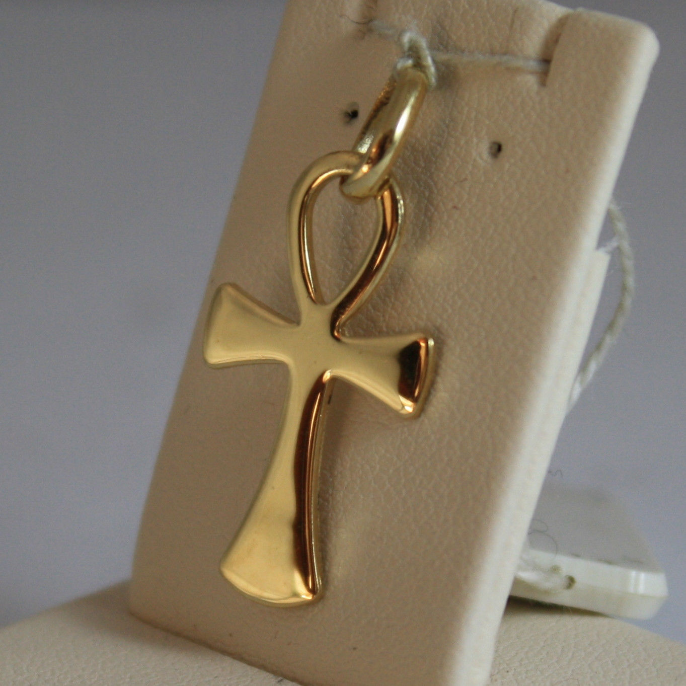 SOLID 18K YELLOW GOLD, SHINY CROSS OF LIFE PENDANT, LENGTH 1,1 IN MADE IN ITALY