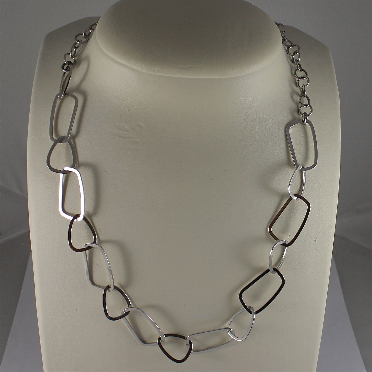 .925 SILVER RHODIUM NECKLACE, 19,69 In, MIXED CHAIN GEOMETRIC MESH, ADJUSTABLE.