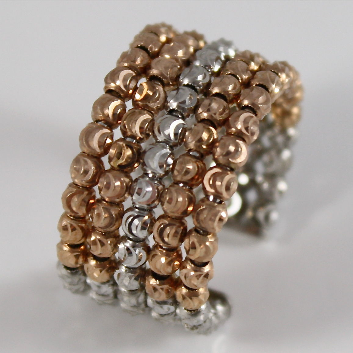 925 SILVER RING OFFICINA BERNARDI FACETED BALLS MADE IN ITALY FIVE WIRE P. ROSE
