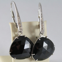 18K WHITE GOLD EARRINGS, DIAMOND CT 0.15, DROP BLACK SPINEL CT 15, MADE IN ITALY