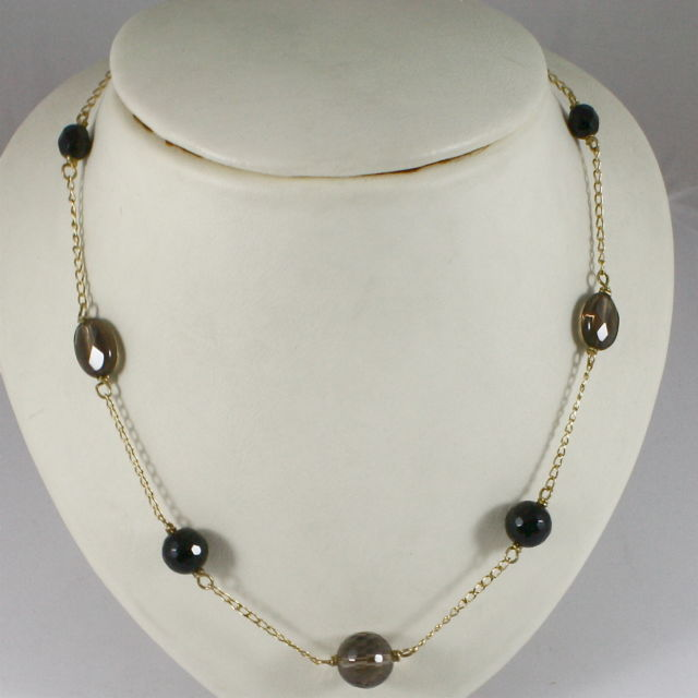 18K 750 YELLOW GOLD NECKLACE WITH ONYX AND SMOKY QUARTZ, MADE IN ITALY