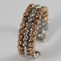 925 ROSE SILVER RING BY OFFICINA BERNARDI FACETED BALLS MADE IN ITALY THREE WIRE