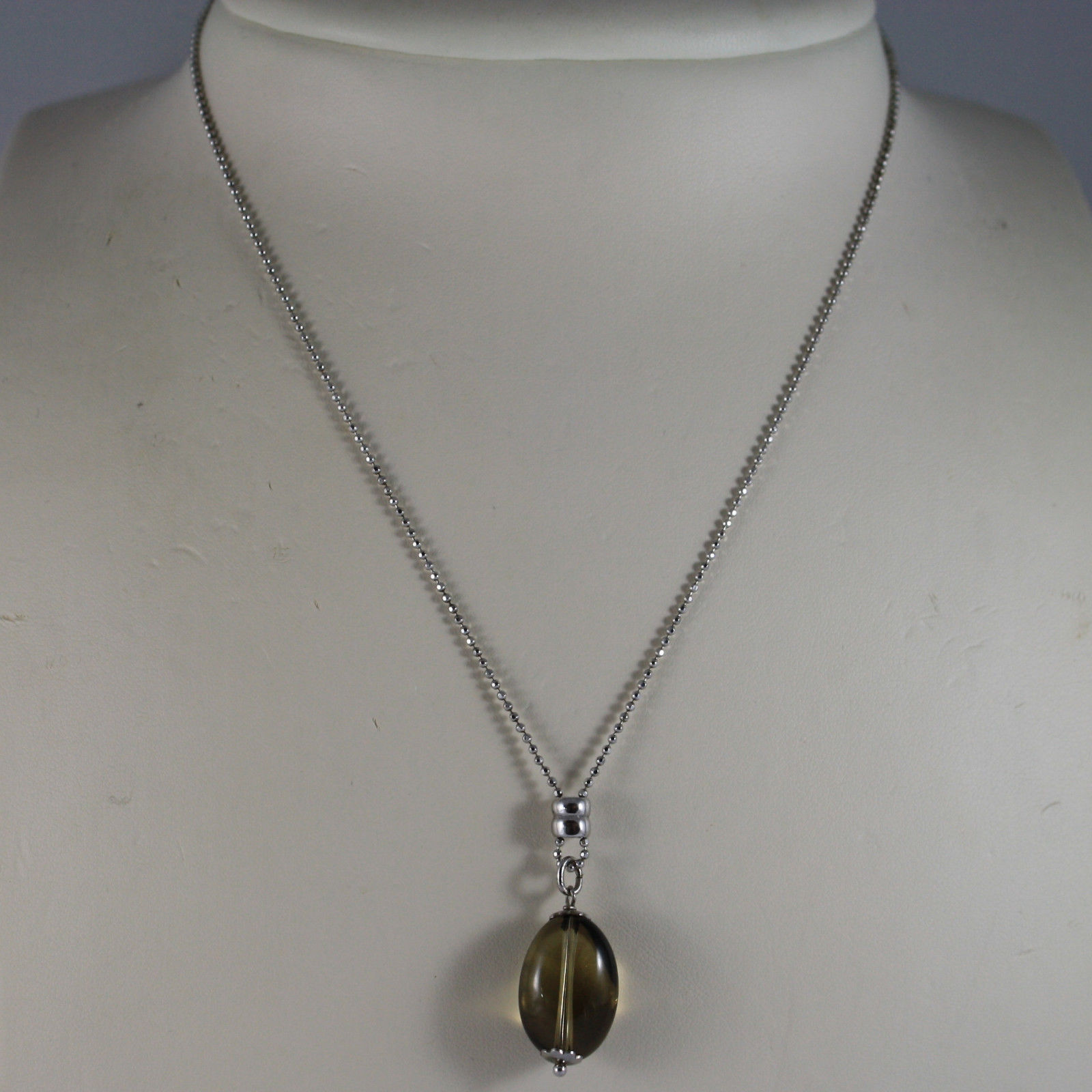 .925 RHODIUM SILVER NECKLACE WITH SMOKY QUARTZ
