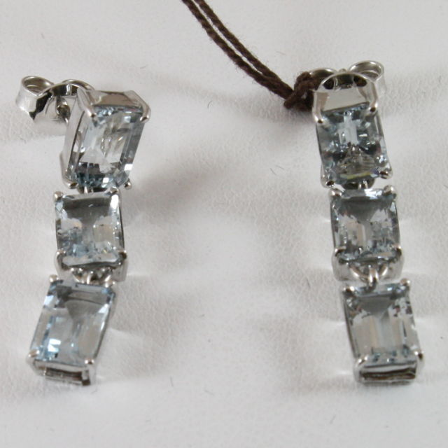 18K WHITE GOLD AQUAMARINE EMERALD CUT EARRINGS CT 6.00, MADE IN ITALY