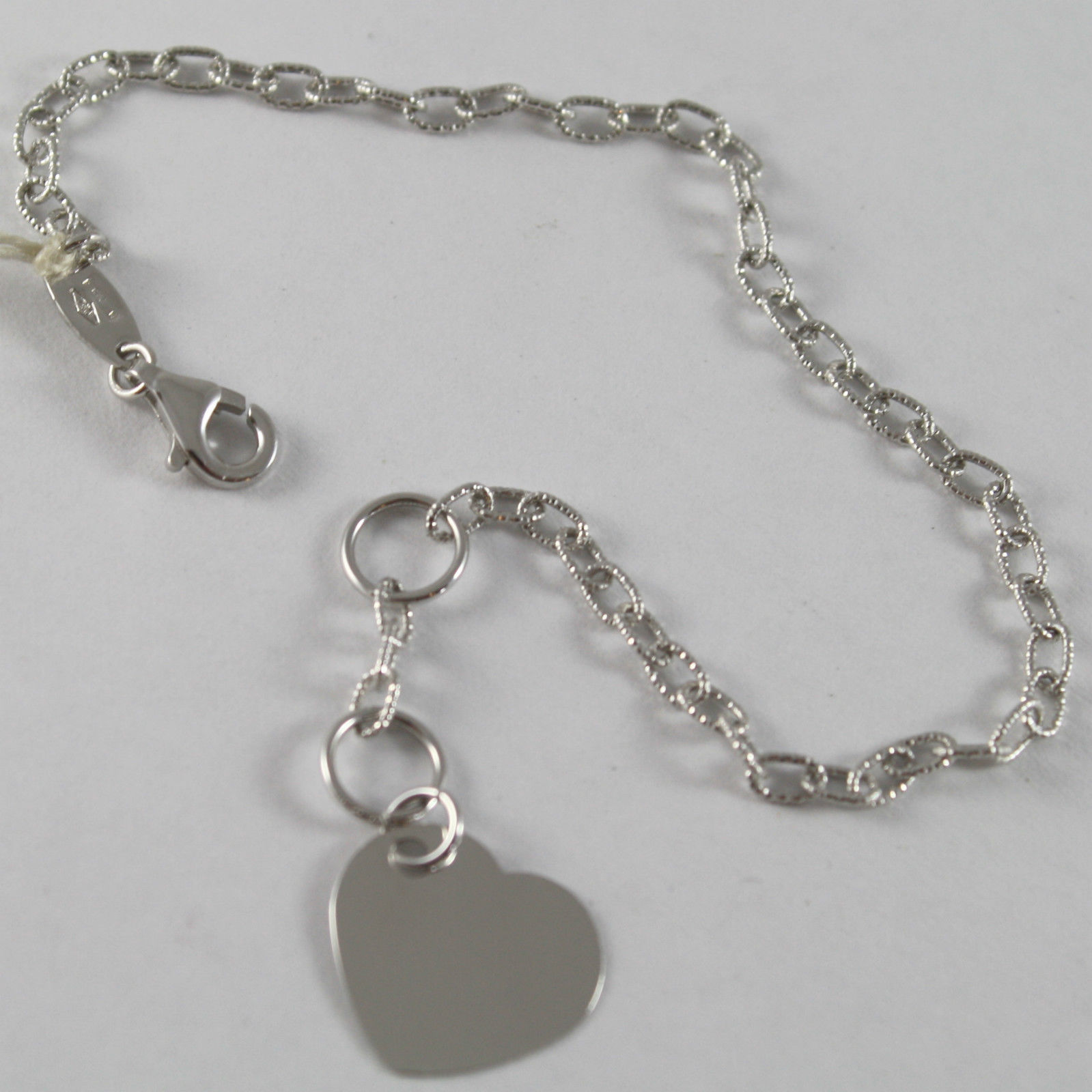 SOLID 18K WHITE GOLD BRACELET WITH ENGRAVING PENDANT HEART, MADE IN ITALY