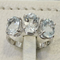 18K WHITE GOLD 750 RING WITH AQUAMARINE MADE IN ITALY