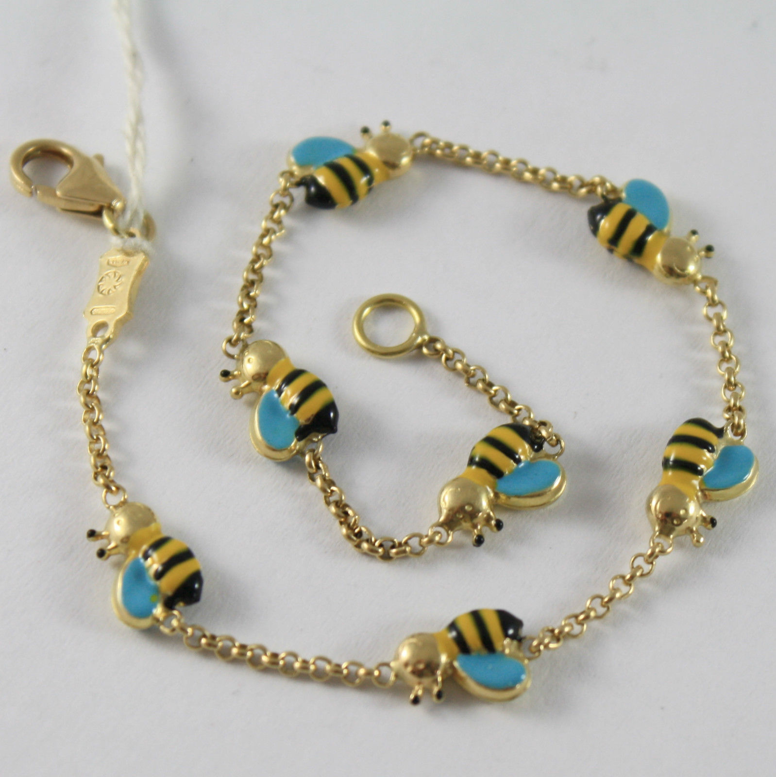 SOLID 18K YELLOW GOLD BRACELET, BEE SMILING BEE WITH GLAZE, MADE IN ITALY