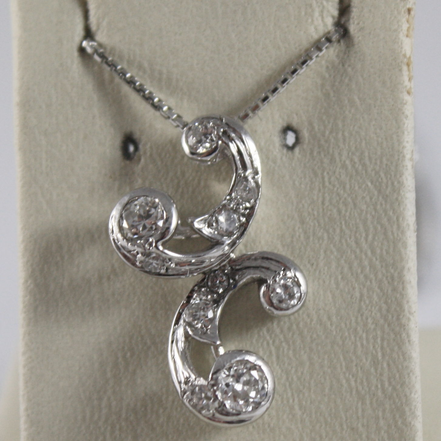 SOLID 18K WHITE GOLD NECKLACE, ETHNIC STYLE WITH DIAMONDS, DIAMOND MADE IN ITALY