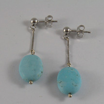 SOLID 18K WHITE GOLD EARRINGS, WITH OVALS OF TURQUOISE, MADE IN ITALY image 2