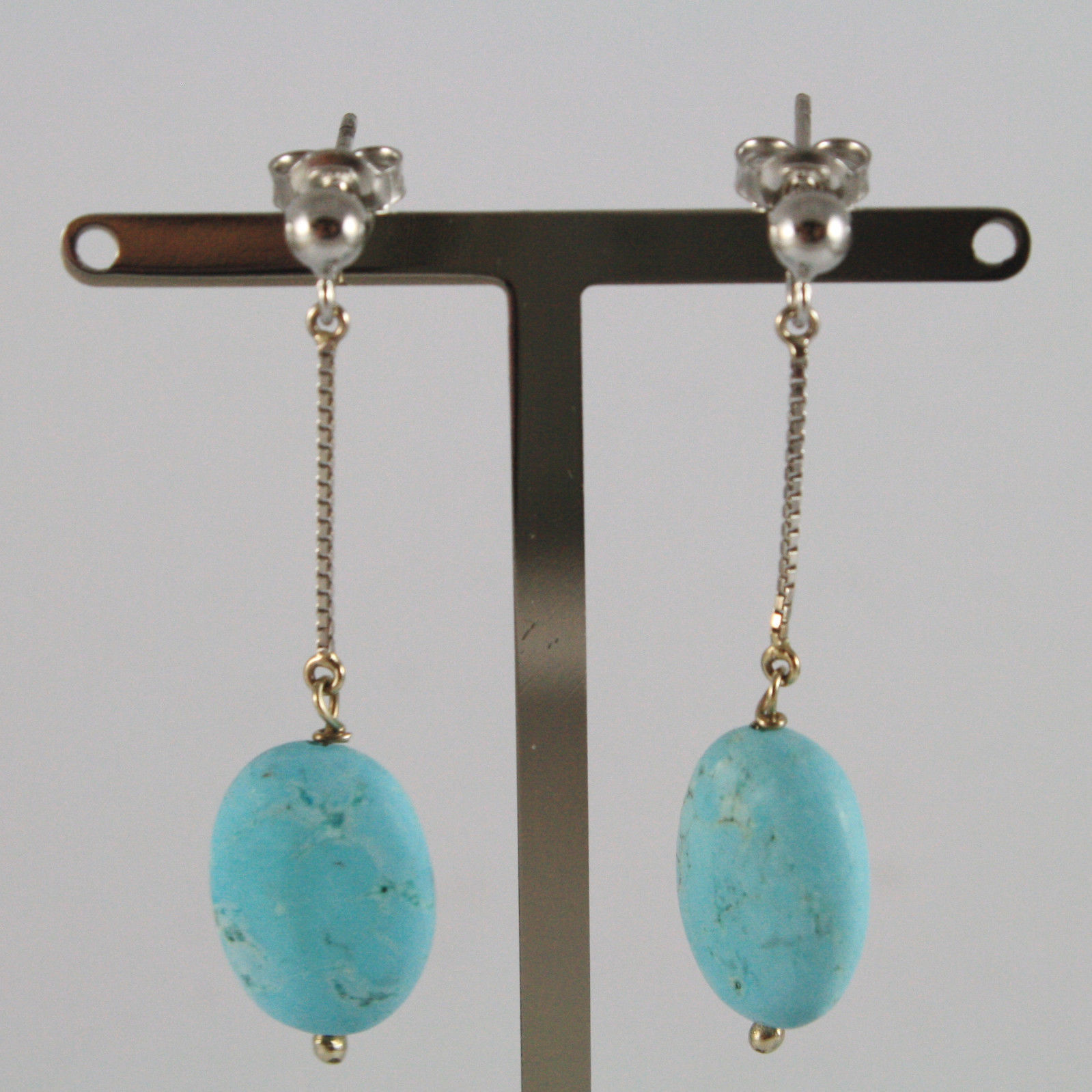 SOLID 18K WHITE GOLD EARRINGS, WITH OVALS OF TURQUOISE, MADE IN ITALY