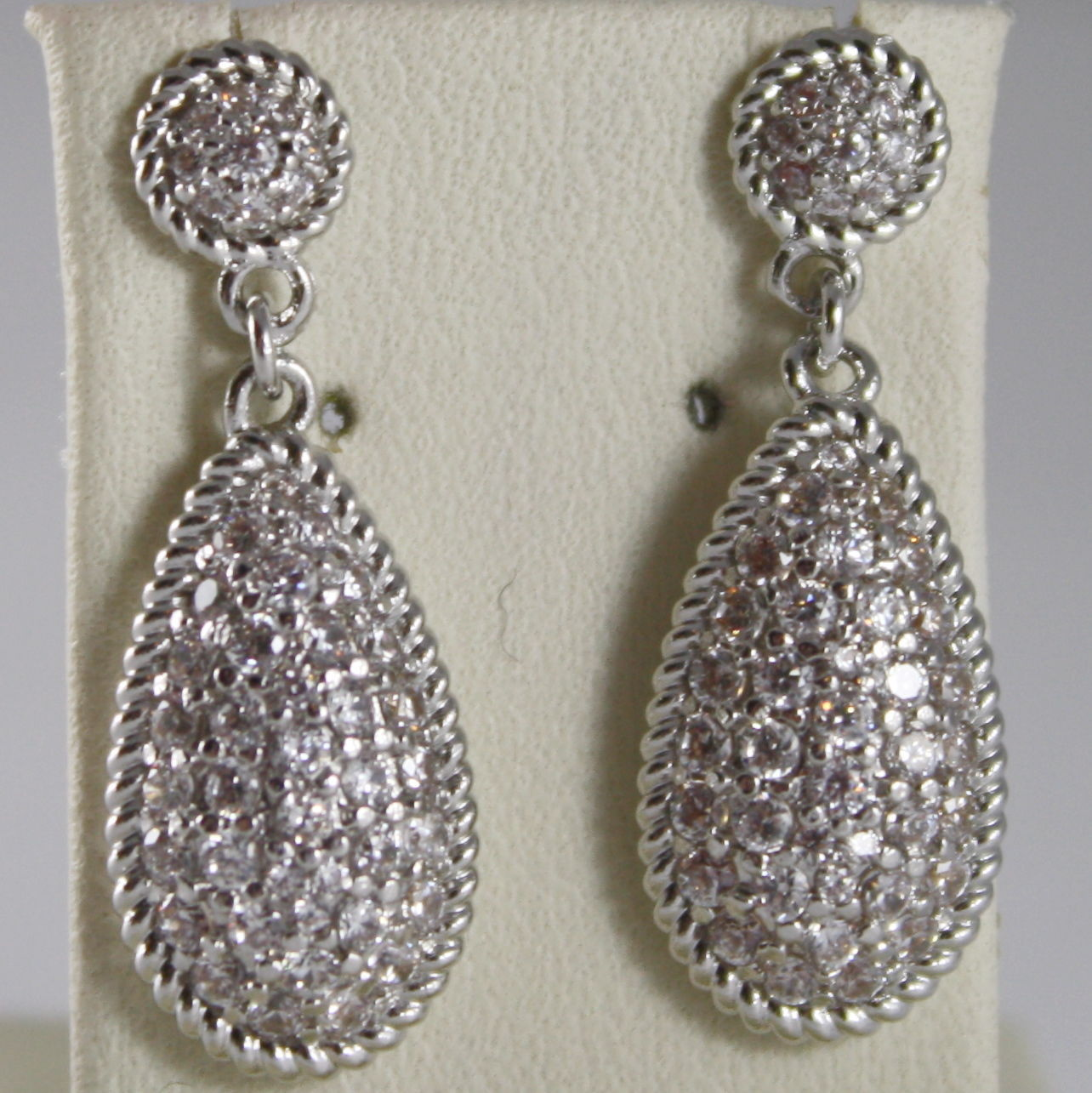 RHODIUM BRONZE EARRINGS, DROP CUBIC ZIRCONIA B14OBB15, BY REBECCA MADE IN ITALY