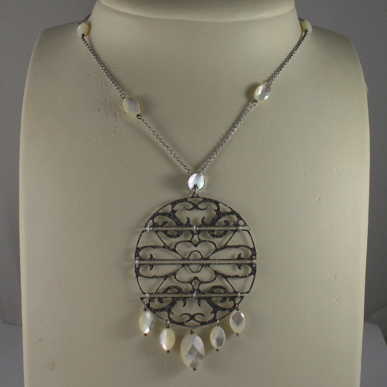 .925 SILVER RHODIUM NECKLACE WITH MOTHER OF PEARL AND PERFORATED DISC