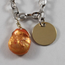 .925 RHODIUM SILVER BRACELET WITH ORANGE MOTHER OF PEARL AND GOLDEN DISC image 2