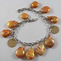 .925 RHODIUM SILVER BRACELET WITH ORANGE MOTHER OF PEARL AND GOLDEN DISC image 1