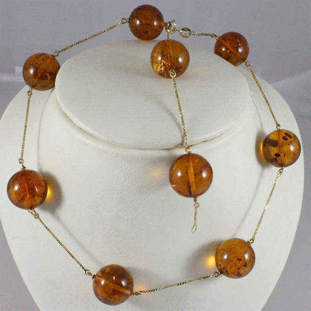 18K 750 YELLOW GOLD NECKLACE WITH AMBER DIAMETER 16mm, 0.63in, MADE IN ITALY