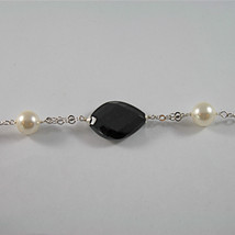 .925 SILVER RHODIUM NECKLACE WITH BLACK ONYX, WHITE SYNTHETIC PEARLS, 28.35 IN image 2