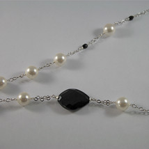 .925 SILVER RHODIUM NECKLACE WITH BLACK ONYX, WHITE SYNTHETIC PEARLS, 28.35 IN image 4