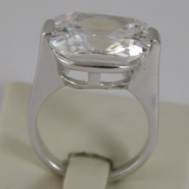 925 RHODIUM SILVER SOLITAIRE RING WITH WHITE CRISTAL CT 5.50 RADIANT CUTj image 4