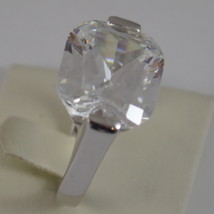 925 RHODIUM SILVER SOLITAIRE RING WITH WHITE CRISTAL CT 5.50 RADIANT CUTj image 3