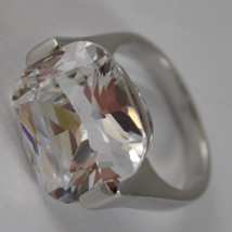 925 RHODIUM SILVER SOLITAIRE RING WITH WHITE CRISTAL CT 5.50 RADIANT CUTj image 2