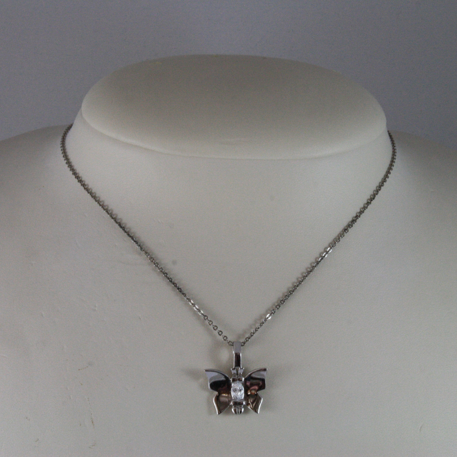 .925 SILVER RHODIUM NECKLACE WITH BUTTERFLY WITH CENTRAL ZIRCONIA