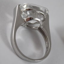 925 RHODIUM SILVER SOLITAIRE RING WITH WHITE CRISTAL CT 5.50 RADIANT CUTj image 5