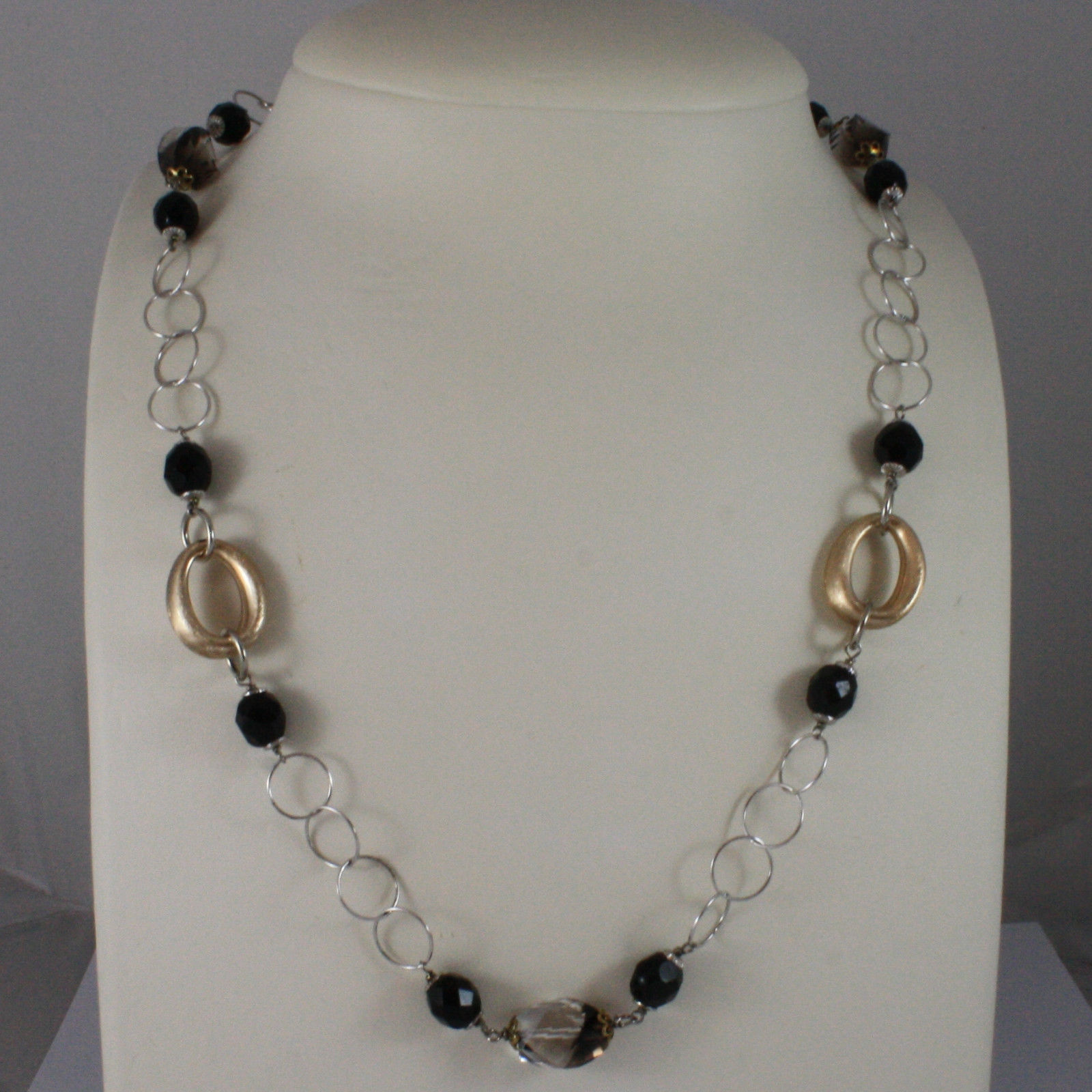 .925 SILVER RHODIUM NECKLACE WITH BLACK ONYX, SMOKY QUARTZ AND YELLOW GOLD OVALS