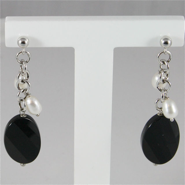 18K WHITE GOLD PENDANT EARRINGS, WITH PEARLS AND BALCK ONYX, MADE IN ITALY