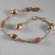 PLATED ROSE GOLD SOLID .925 SILVER BRACELET PINK NUGGETS BY NANIS MADE IN ITALY