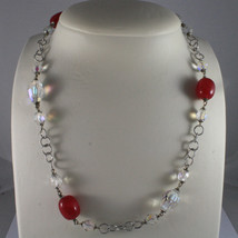 .925 SILVER RHODIUM NECKLACE WITH FUCHSIA AGATE AND TRANSPARENT CRYSTALS image 1