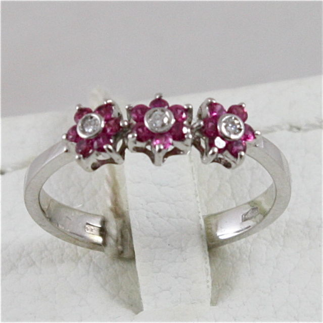 18K WHITE GOLD 750 RING WITH RUBIES AND DIAMONDS, FLOWERS, MADE IN ITALY