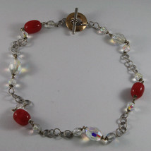 .925 SILVER RHODIUM NECKLACE WITH FUCHSIA AGATE AND TRANSPARENT CRYSTALS image 2