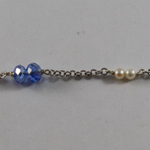 .925 SILVER RHODIUM NECKLACE WITH BLUE CRYSTALS, WHITE PEARLS AND DROP OF ZIRCON image 4