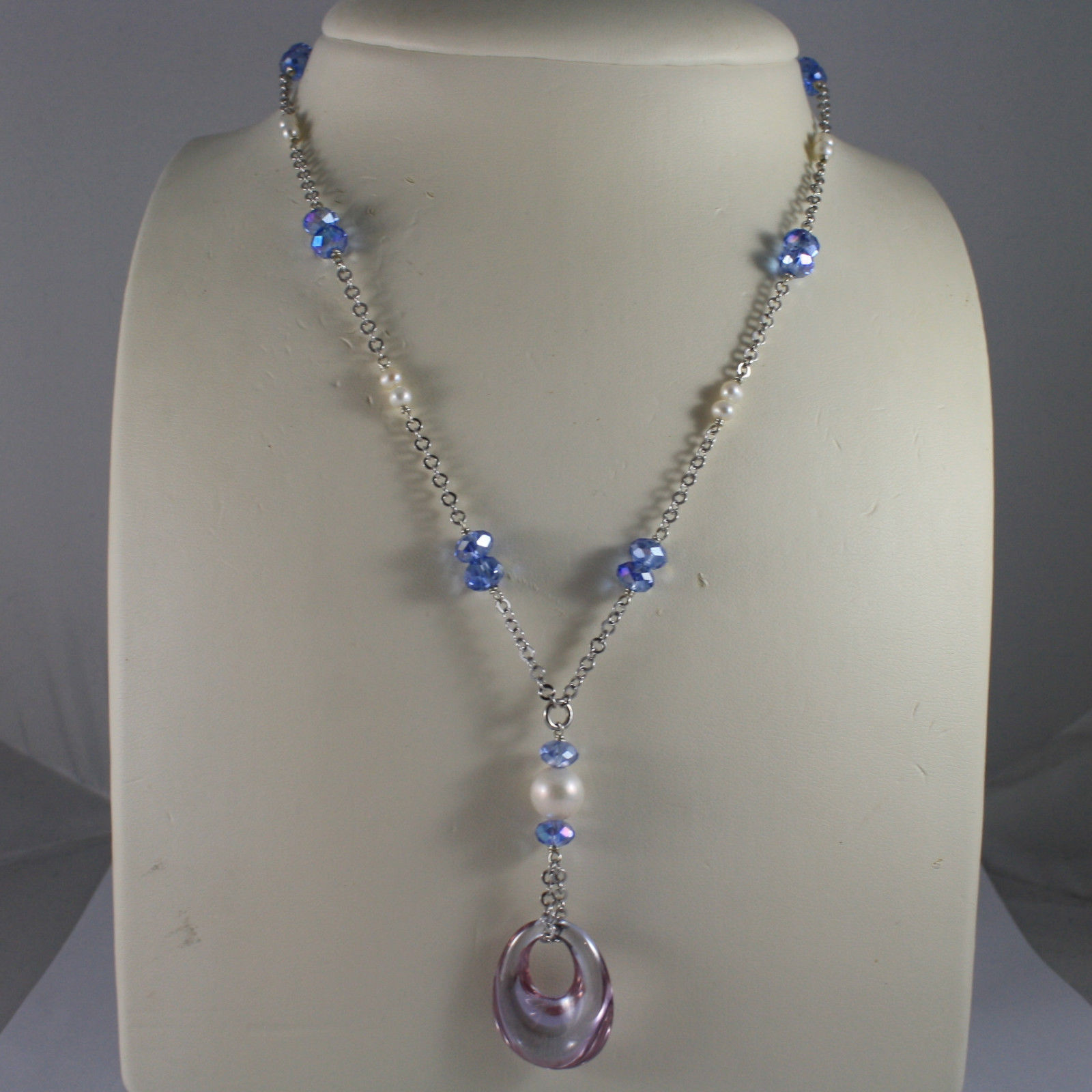 .925 SILVER RHODIUM NECKLACE WITH BLUE CRYSTALS, WHITE PEARLS AND DROP OF ZIRCON