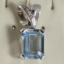 SOLID 18K WHITE GOLD PENDANT, DIAMOND & BLUE TOPAZ C 1.5 BY MILUNA MADE IN ITALY