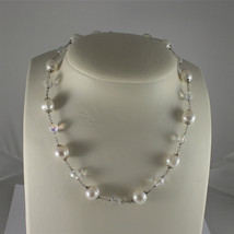 .925 RHODIUM SILVER NECKLACE, BAROQUE WHITE PEARLS, FACETED CRYSTALS, 15,75 In.