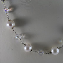 .925 RHODIUM SILVER NECKLACE, BAROQUE WHITE PEARLS, FACETED CRYSTALS, 15,75 In. image 2