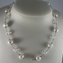 .925 RHODIUM SILVER NECKLACE, BAROQUE WHITE PEARLS, FACETED CRYSTALS, 15,75 In. image 3