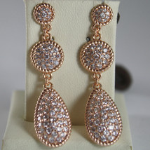 BRONZE EARRINGS, DROP & CUBIC ZIRCONIA B14ORB17, ROSE, BY REBECCA MADE IN ITALY
