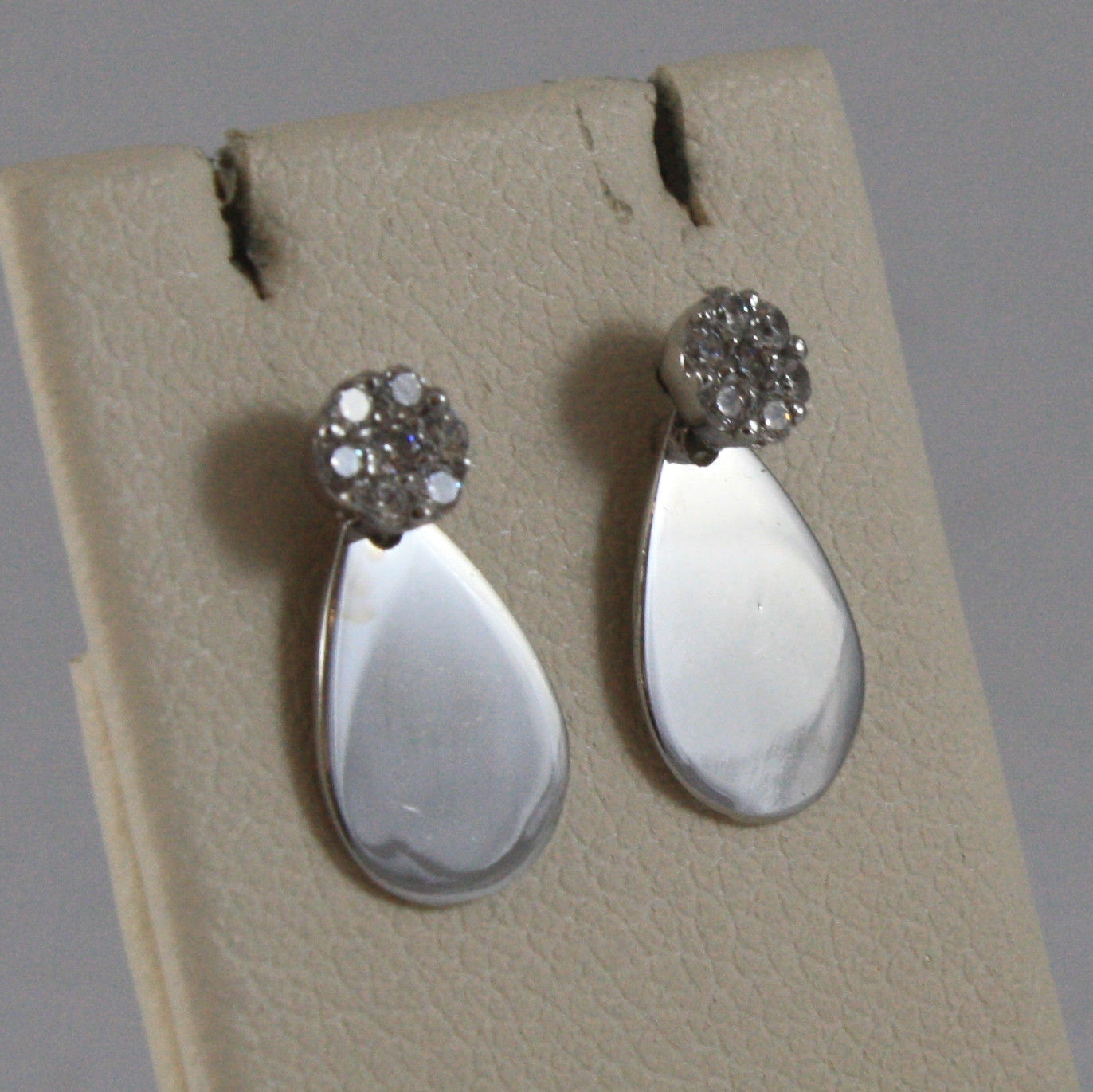 SOLID 18K WHITE GOLD EARRINGS, WITH POLISHED DROP AND ZIRCONIA, MADE IN ITALY