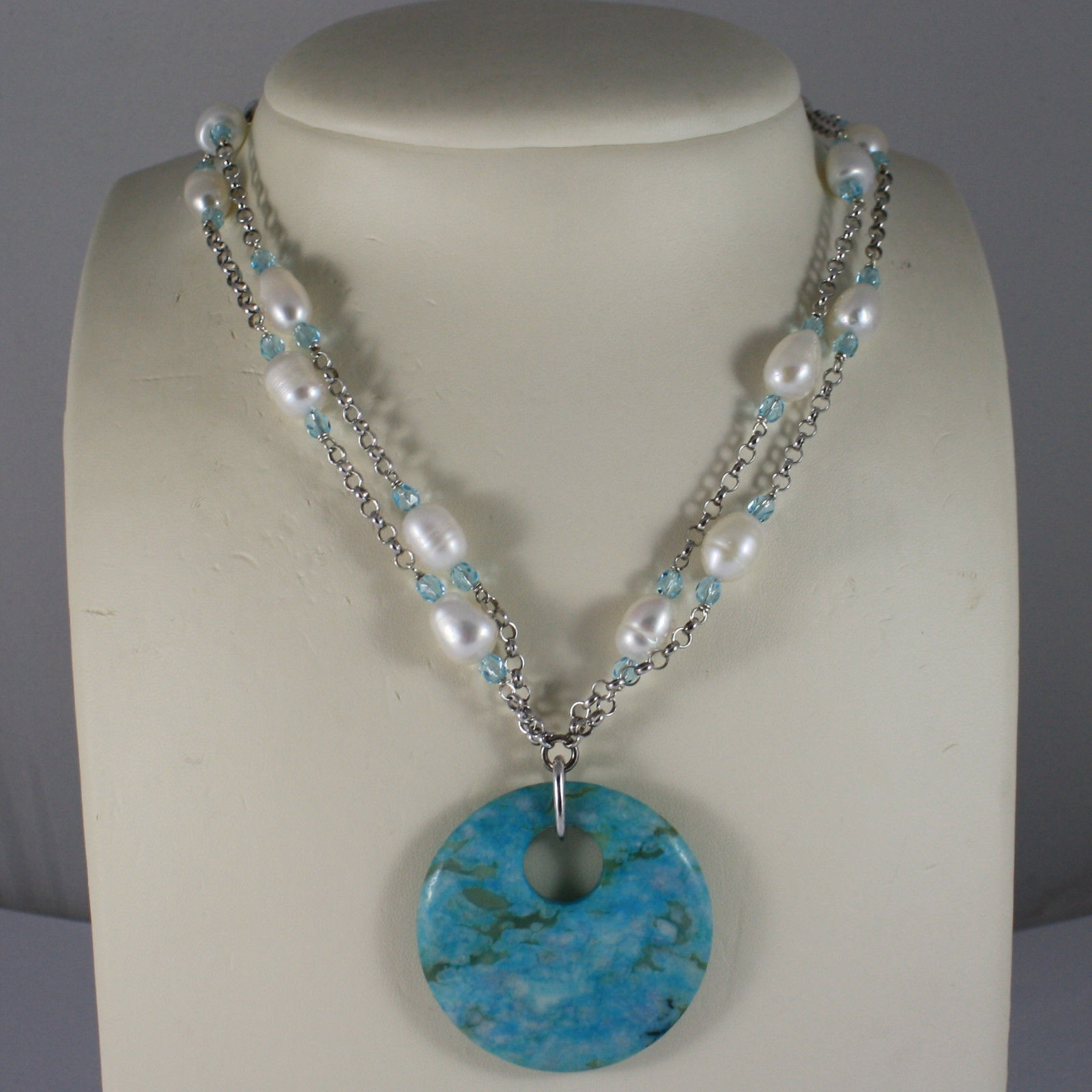.925 RHODIUM NECKLACE WITH BLUE CRYSTALS, WHITE PEARLS AND TURQUOISE MEDALLION