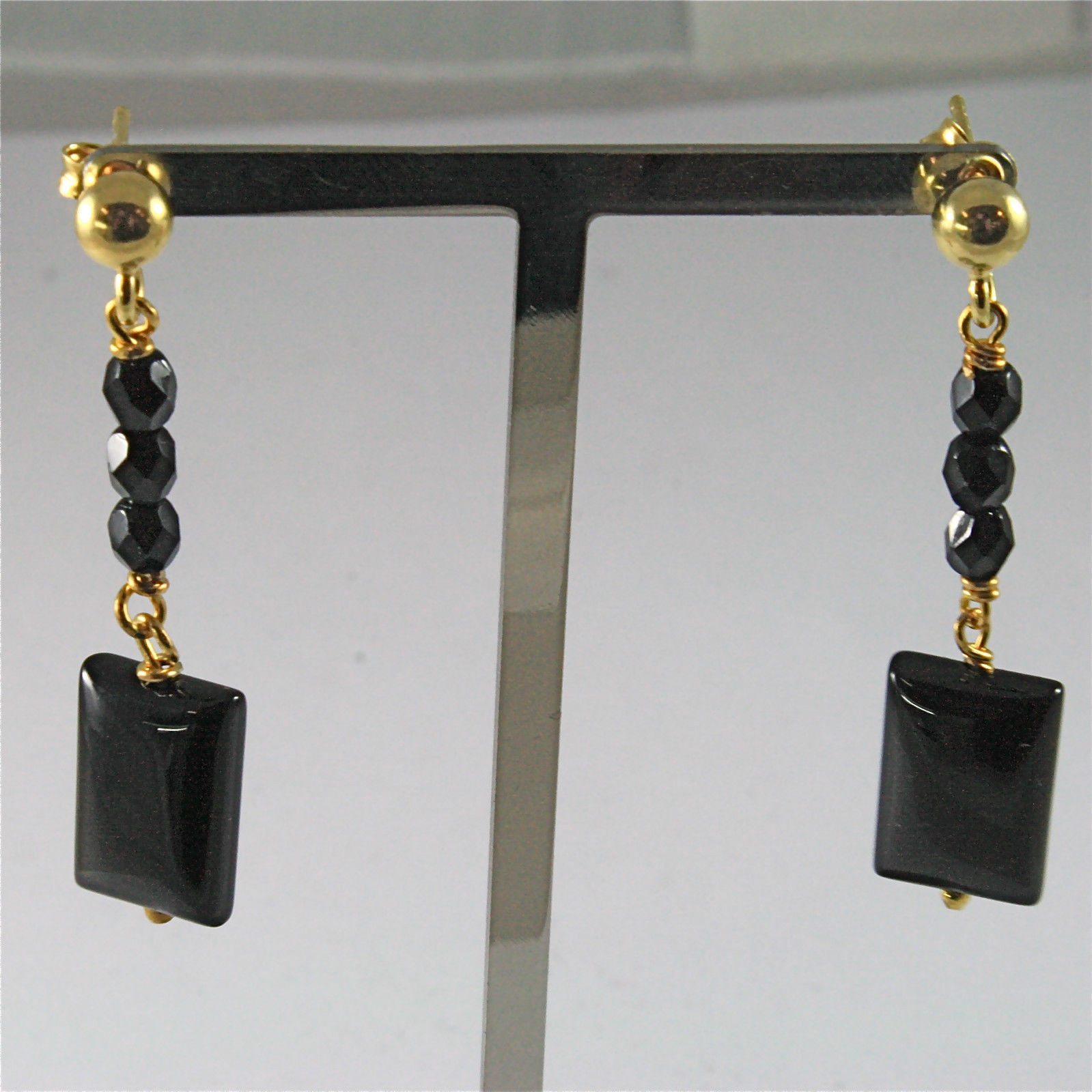 .925 GOLD PLATED SILVER PENDANT EARRINGS WITH RECTANGULAR BLACK ONYX, 1.69 IN