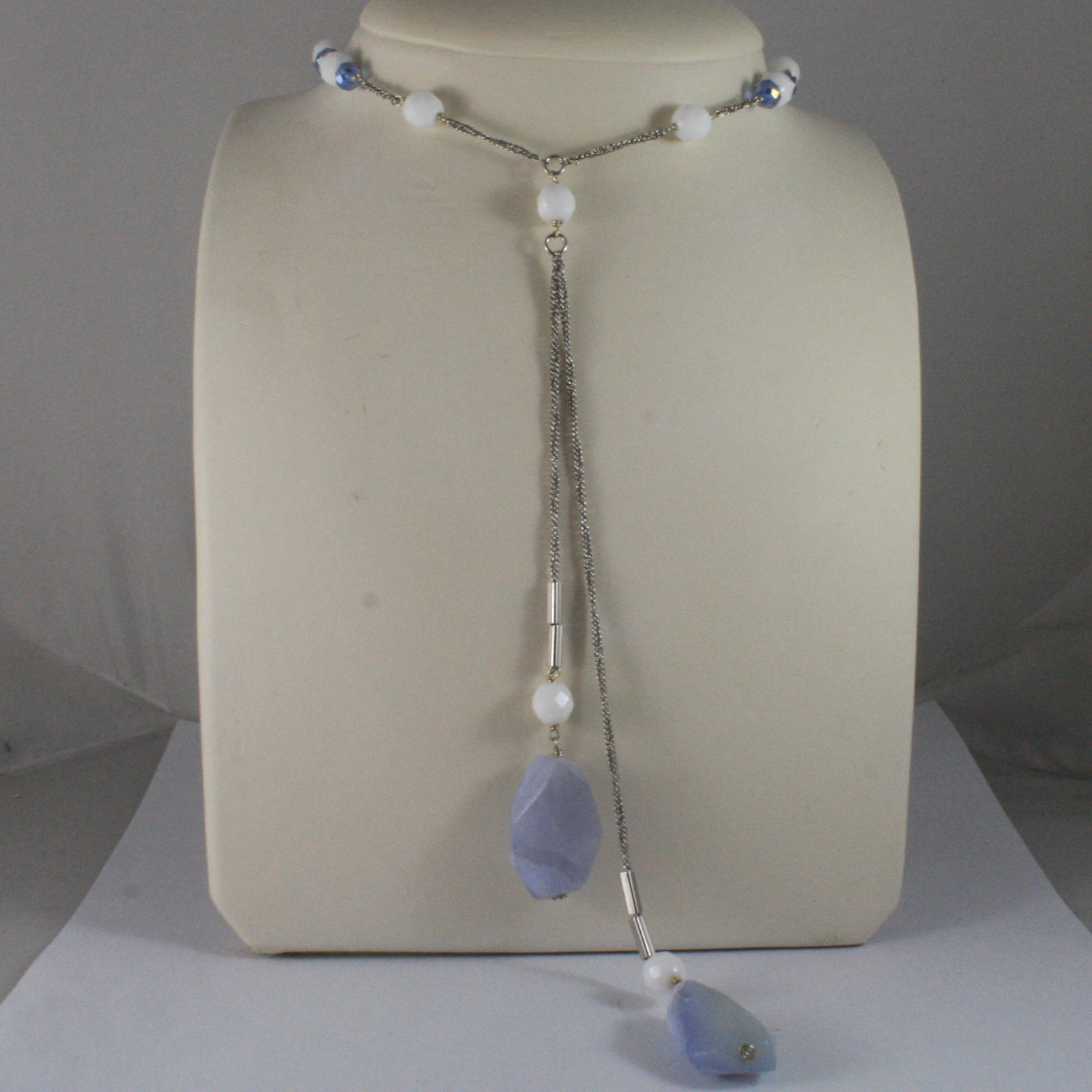 .925 SILVER RHODIUM NECKLACE WITH  BLUE AND WHITE AGATE AND BLUE CRISTALS
