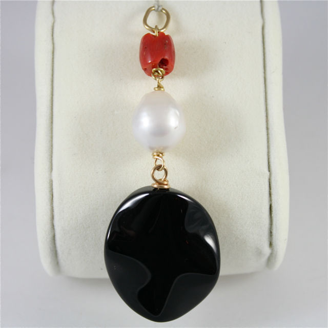 18K YELLOW GOLD ROUGH RED CORAL, DROP PEARL AND ONYX PENDANT, MADE IN ITALY